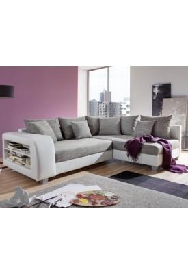 Canapé d'angle Blanc/Gris