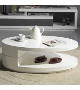 Table basse en bois avec plateau tournant