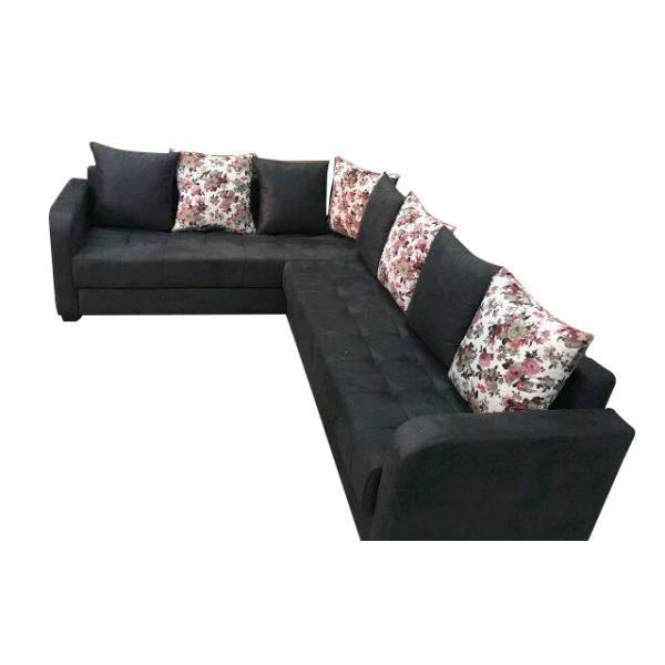 Salon d 39 angle hermi noir odesign for Canape 200x200