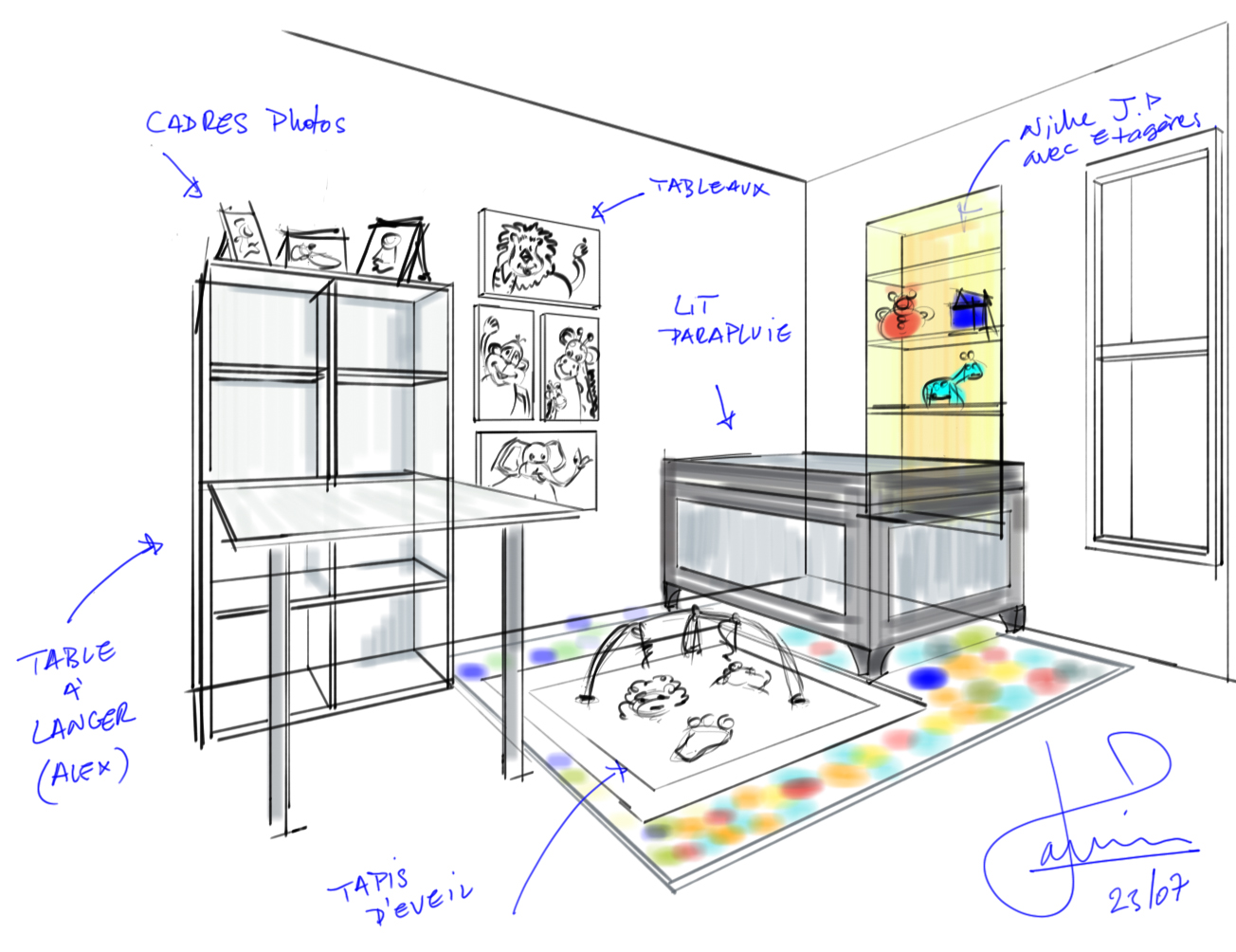 croquis chambre bebe consultation odesign